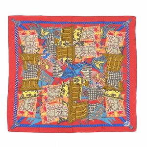 Hermes Hermes Cashmere Silk Shawl Etendards Et Bonnieres Flag Pattern Red