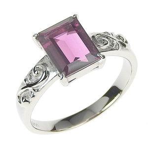 Platinum Pt 900 Garnet 2.44ct Ring 17 Number Brand Jewelry