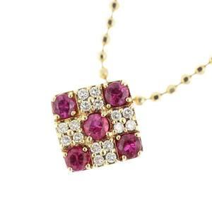 K18yg Ruby 0.51ct Diamond 0.12ct Necklace Checkered Pattern 5.1g
