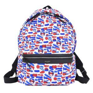 Yves Saint Laurent Yves Overall Backpack Red × Blue White Bag