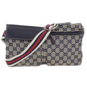 Gucci Gucci Gg Canvas Waist Pouch Bag Navy 28566