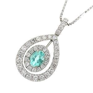 Platinum Pt 900 / 850 Paraiba Tourmaline 0.62ct Diamond 0.92ct Necklace
