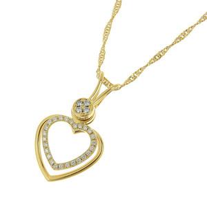 Valente Waltham Waltham K18yg Diamond Heart Necklace Brand Jewelery Shined
