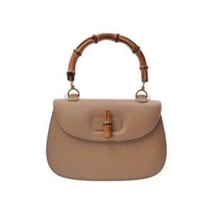 Used Gucci Bamboo 2 Way Handbag Pigskin Beige Strap ◇