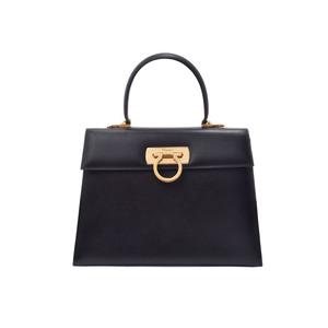 Salvatore Ferragamo Used Ferragamo 2 Way Handbag Gancini Calf Black G Metal ◇