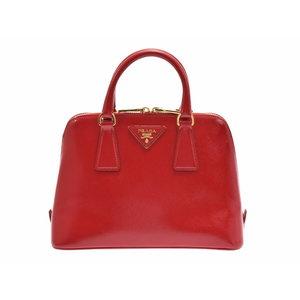 Used Prada 2 Way Bag Safiano Verni Red G Hardware Gala Bl 0838 ◇