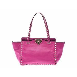Used Valentino Garavani Rock Studs Small 2 Way Bag Leather Pink System ◇