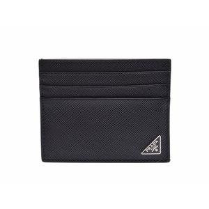 Used Prada Card Case Safiano Black Sv Hardware 2mc223 ◇