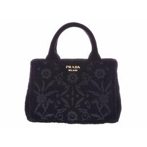 Used Prada Velvet 2 Way Handbag Velor With Black Strap Gala ◇