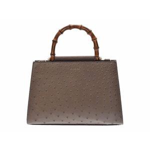 Used Gucci Bamboo 2 Way Bag Ostrich Gurej Strap Box New Shin ◇