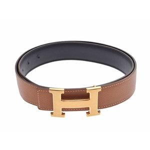 Hermes H Belt Epson / Swift Black Brown G Metal Size 85 T Engraved Box ◇