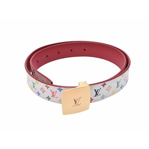 Used Louis Vuitton Multi Color Belt Saint-couture White Size 80cm Women's ◇