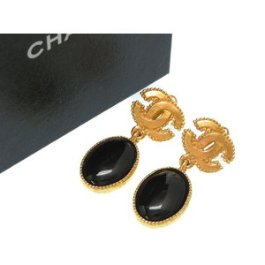 Chanel Vintage Black Stone Coco Mark Earrings Gold 0028 Women's