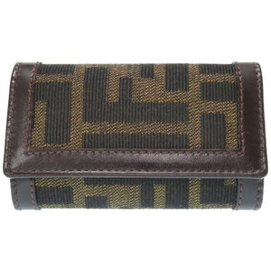 Fendery Zucca 6-key Key Case As New Canvas Leather Brown 0209 Fendi