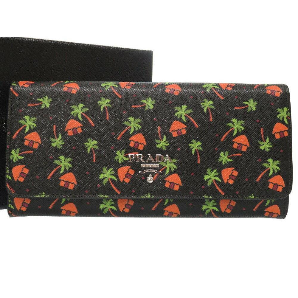 4b729f68a442 Unused Prada Palm Tree Print Leather Black Purse Wallet 0125