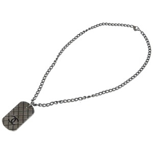 Chanel Matrasse Coco Mark Plate Necklace Silver Accessory 0347