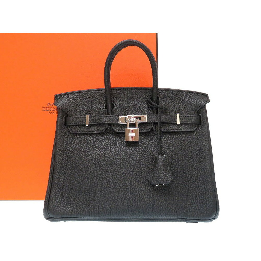 Hermes Birkin 25 Women s Togo Leather Handbag Black 407a55373