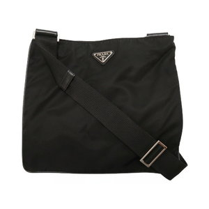 Prada Nylon Black Triangular Plate Shoulder Bag 0127