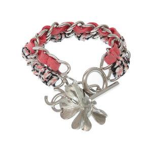 Chanel W Chain Tweed / Suede Bracelet Silver B14 Accessory 0290chanel Women's