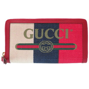6311c6fa330 As New Gucci Print Zip Around Wallet Red Canvas Leather 524790 Round Zipper  Long Purse 0241