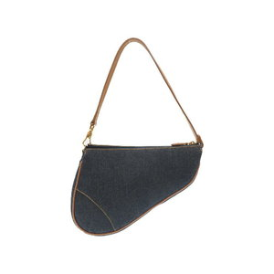 Christian Dior Saddle Pouch Denim Leather Blue Handbag Bag 0125 Women's