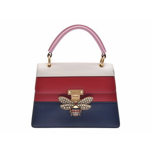 Used Gucci Queen Marguerite Calf Tricolor G Bracket With Strap 2 Way Bag Bee ◇