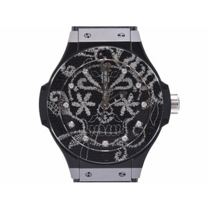 Used Hublot Big Bang Brooch Daily Skull 343.cs.6570.nr.bsk16 Titanium / Ceramic Rubber 11p Diamond Embroidery Back Scalable Box Galleries 200 Limited Automatic Watch Men's ◇