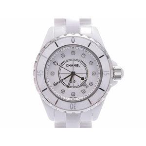 中古 シャネル J12 33mm 白セラミック 12Pダイヤ H1628 ギャラ クオーツ 腕時計 メンズ レディース CHANEL◇