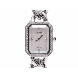 中古 シャネル プルミエール シェル文字盤 ベゼルダイヤ 4Pダイヤ Lサイズ SS クオーツ 腕時計 レディース CHANEL◇