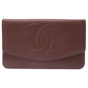 Chanel Caviar Skin Brown Coco Mark Purse Wallet Tea 0351