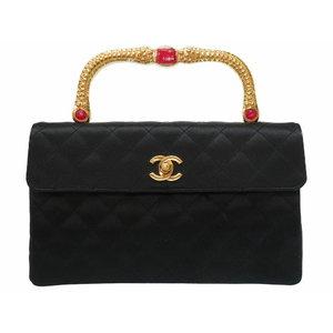Rare Beautiful Item Chanel Gold Handle Stone Silk Satin Black Coco Mark Turn Round Handbag Bag 0025