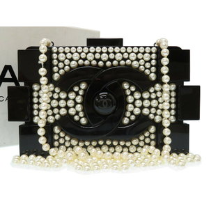 Rare Beautiful Item Chanel Decakoco Fake Pearl Coco Mark Plastic Leather Black 18 Series Shoulder Bag 0023