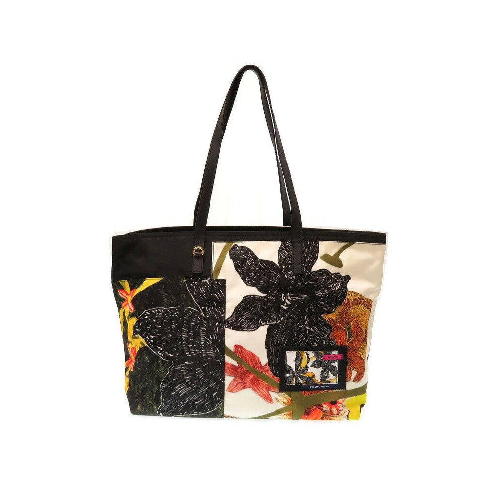 0391991f9450 Mids Beauty Prada Nylon Shoulder Tote Bag Floral Pattern 1bg 052 White 0247  Women's