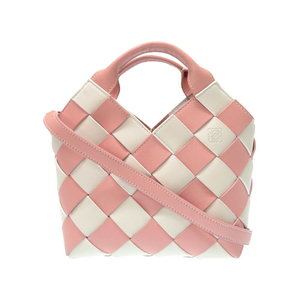Loewe Woven Basket Gingham Mini Bag 321.14.t24 2way Shoulder Hand Pink / White 0033 Strap As New