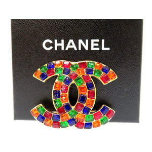 Chanel Gold Brooch Stone Coco Mark Vintage 0419 Women's As Same New