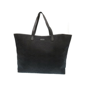 Gucci Horse Bit Pattern Tote Bag Canvas / Leather Black 0286