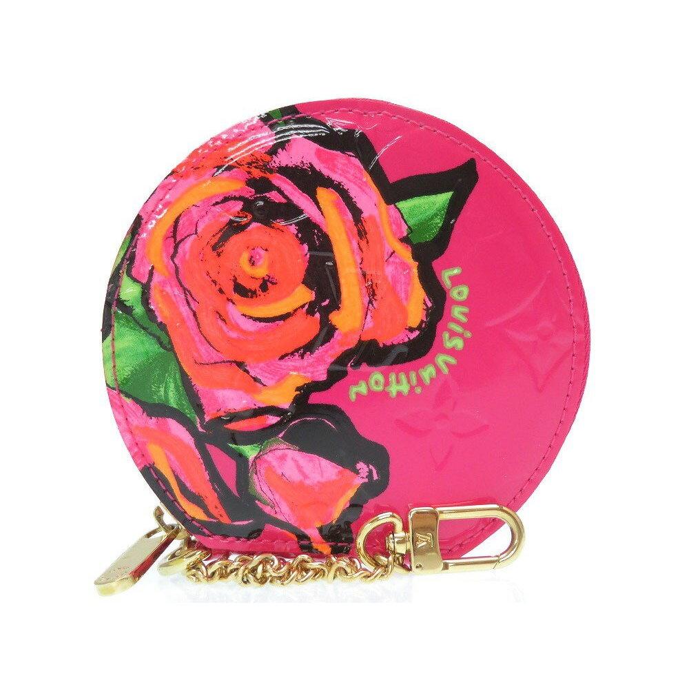 美 品 Louis Vuitton Monogram Verni Rose Porto Monet Chapo M 93690 Coin Case Pink Lv 0339