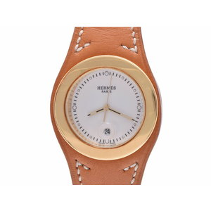 Used Hermes Arne Ha 3.420 Gp / Leather White Dial Quartz Wristwatch Men's Ladies ◇