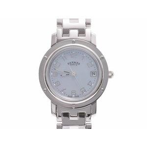 中古 エルメス クリッパー CL4.210 SS ブルーシェル文字盤 クオーツ 腕時計 レディース HERMES◇