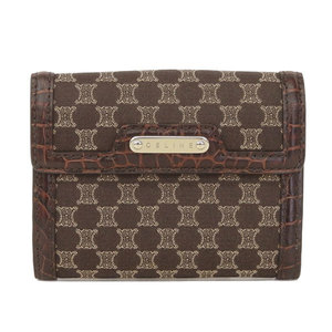 85af383b521dd Celine Celine Pearl Folding Wallet Canvas Brown Tea