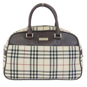 Burberry Canvas Handbag Beige,Dark Brown