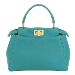 Fendi Fendi Mini Peekaboo Handbag 2 Way Leather Green Series 8 Bn 244 Bag