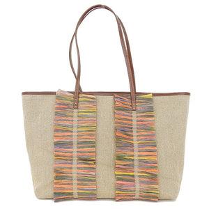 Fendi Linen,Straw Tote Bag Beige,Brown,Multi-color