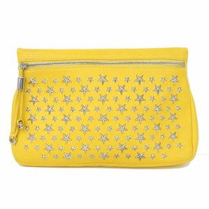 Jimmy Choo Jimmy Chu Star Studs Clutch Bag Yellow Silver Hardware