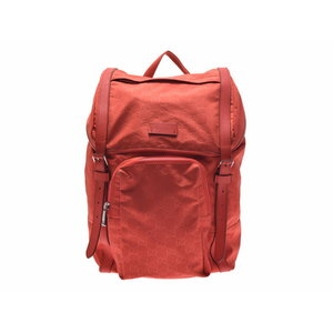 Used Gucci Backpack Gg Pattern Nylon Orange Rucksack ◇