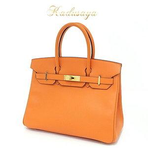 Hermes Birkin 30 Vaud Epson Orange / Gold Hardware □ L Engraved (Made In 2008) Handbag 041701701 Cc-93