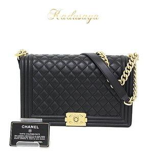 Chanel Boy Lambskin Large Handbag Chain Shoulder Bag Matrasse Black / Gold Hardware A92193