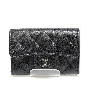 Chanel Matrasse Coco Mark Caviar Skin Card Case Black Silver Hardware A80799 25 Unused Items