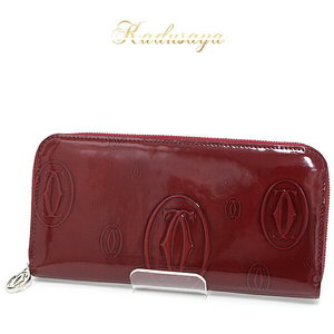 Cartier Happy Birthday Round Zipper Long Purse Red Patent Leather L3001253