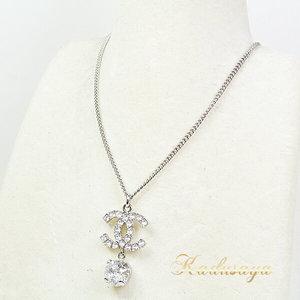 Chanel Koko Mark Rhinestone Necklace Metal Silver 60/42 Cm A58383